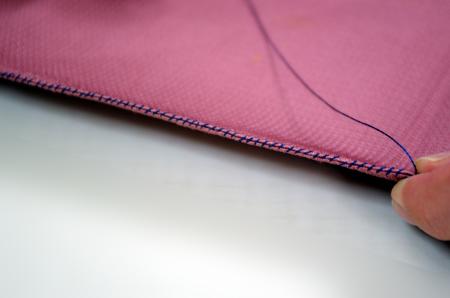 八寸帯の脇縫い・縫い目拡大写真