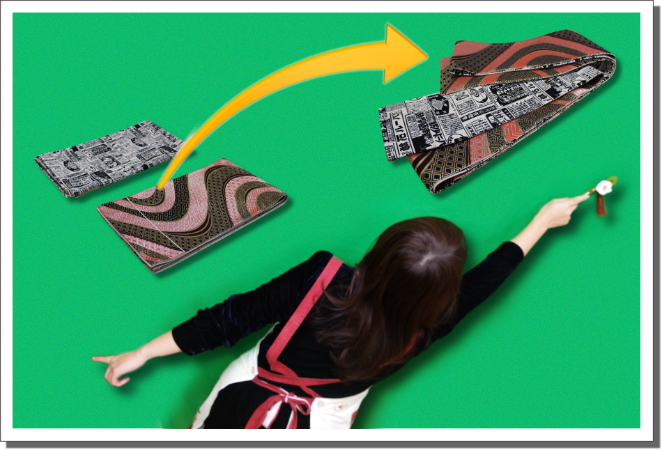 袋帯と市販の布地で仕立て