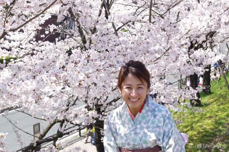 笑顔の着物女性と桜