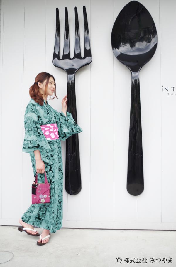 浴衣と帯の組み合わせ・グリーン×ピンク