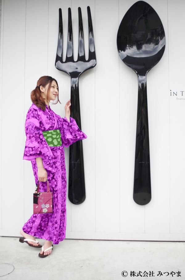 浴衣と帯の組み合わせ・紫×黄緑