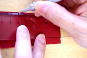 帯芯を測ってシルシをつける