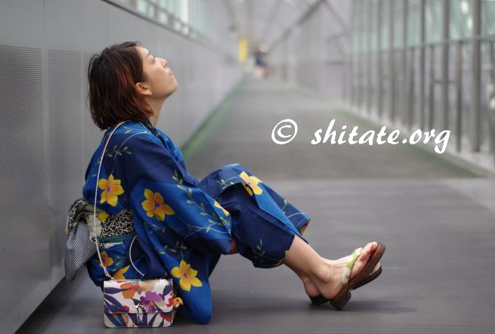 京都駅・空中経路にて浴衣ポートレート