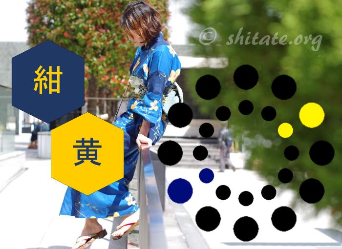 青と紺色の浴衣と黄色い帯のコーディネートTOP