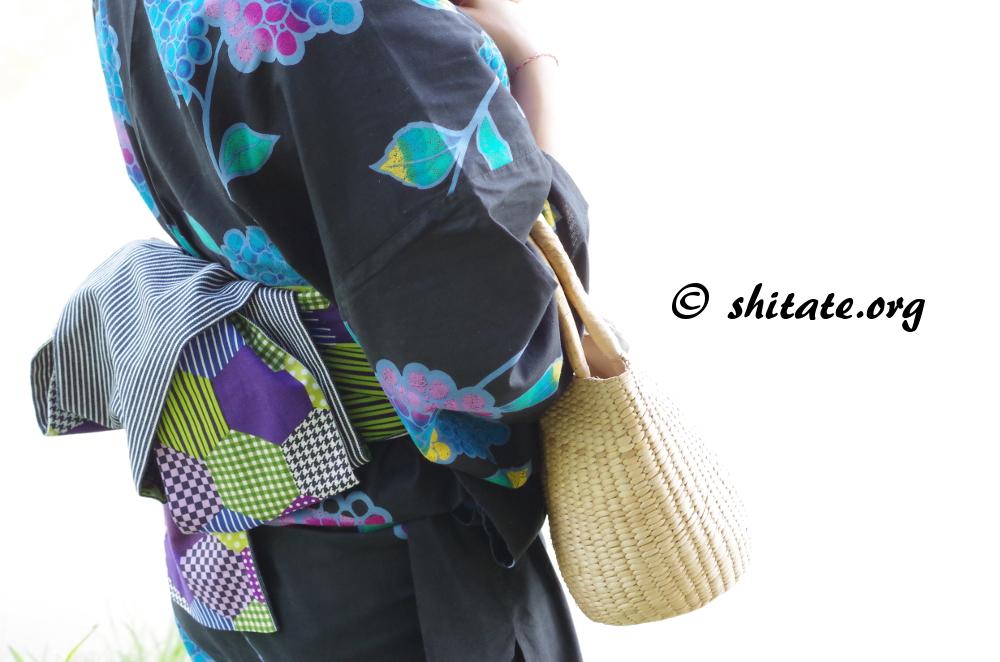 黒い浴衣コーディネート・帯とバッグ
