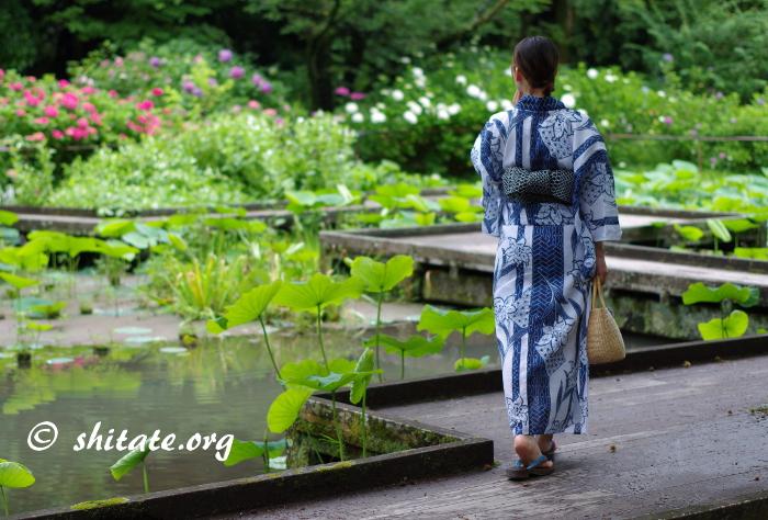 木の橋を渡る紺の浴衣女性