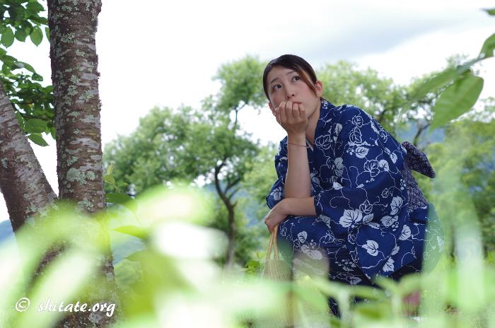 草むらで空を見上げる紺の浴衣女子