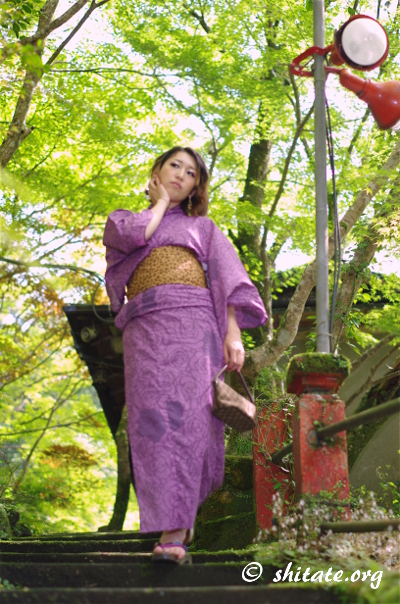 苔の階段を下りる紫の浴衣女性