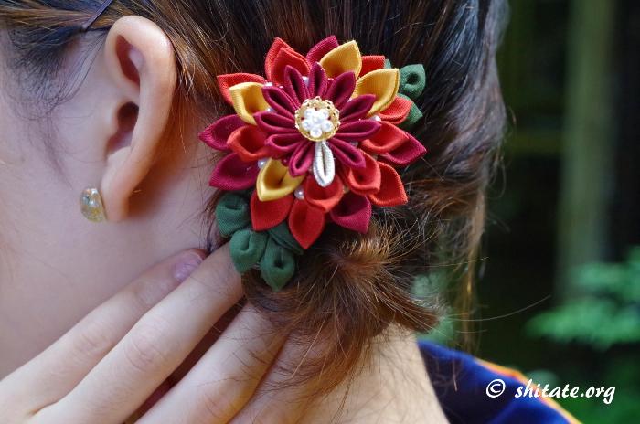 着物コーディネート・つまみ細工の髪飾り