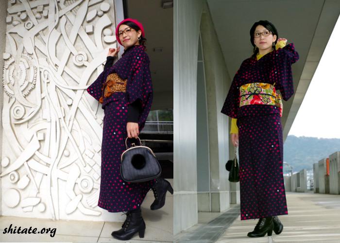 着物×ブーツ×ベレー帽×タートルネックのコーデ2パターン写真
