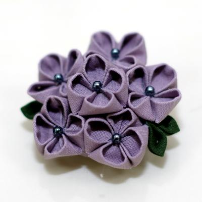 紫陽花のつまみ細工・完成写真