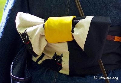 デニム着物と猫の帯