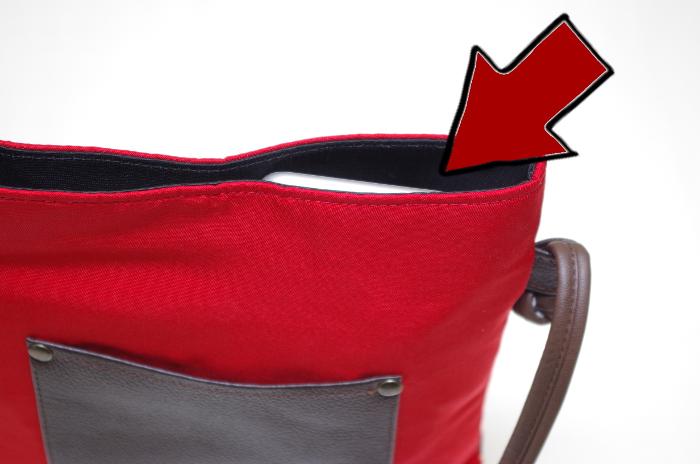 Eバッグ・内ポケットにiPhone-6sも入る・かばんを閉じた写真