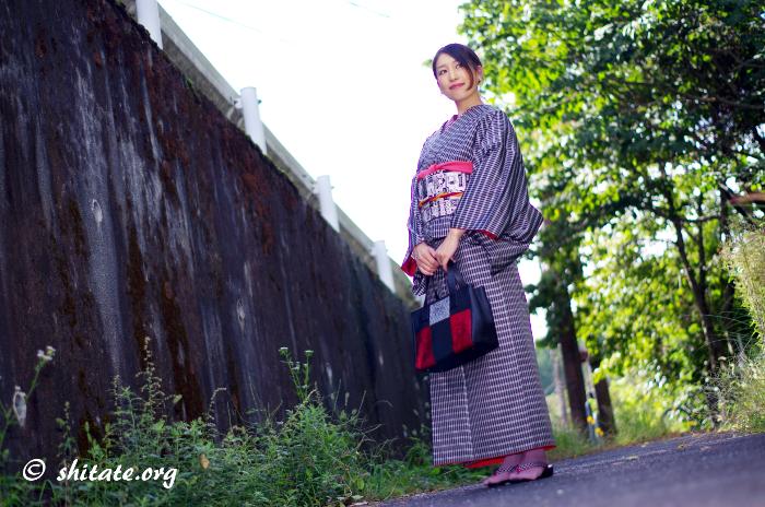 正絹の着物と綿のカジュアル帯2