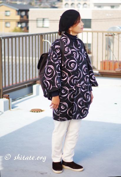 洋服の上に着物の羽織でコーディネート