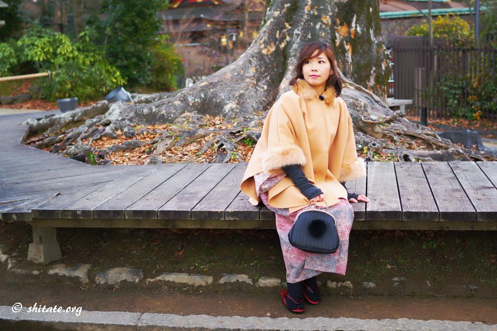 ポンチョと着物のコーディネート-ベンチに座る2