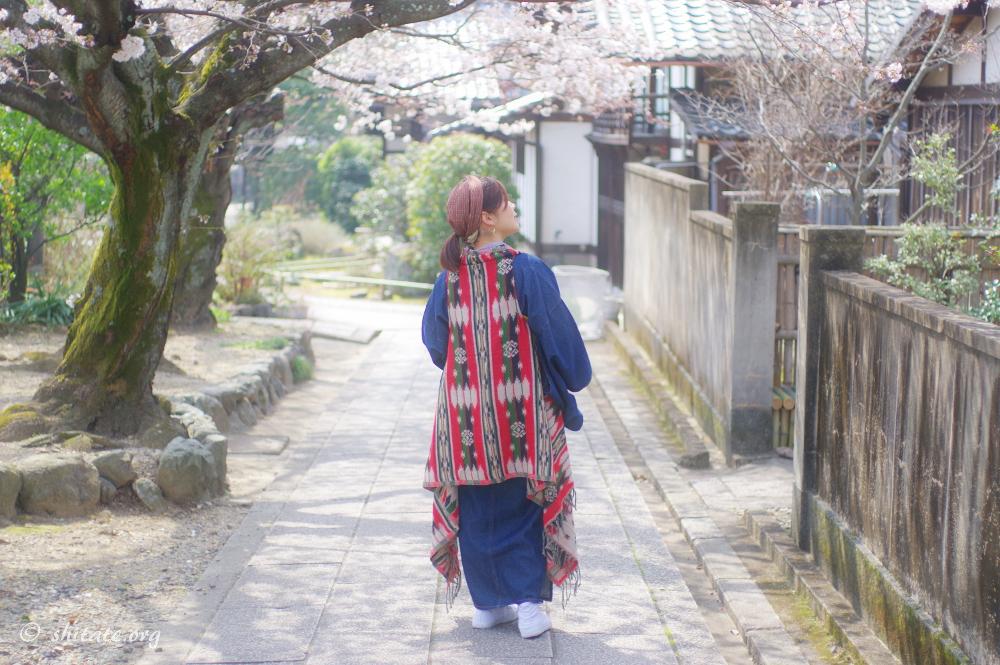 アジアンテイストなジレで春の着物コーデ3