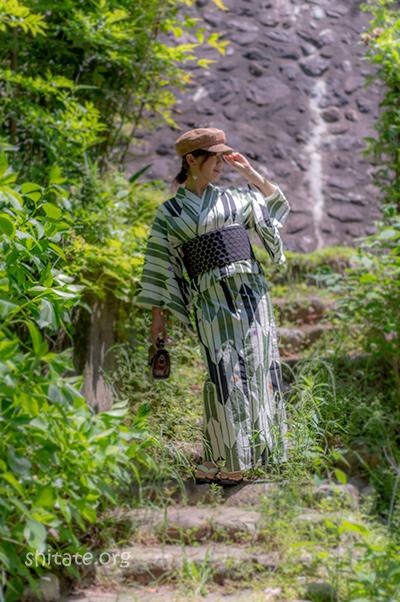 帽子と浴衣コーデ@近所で撮影