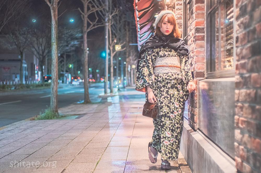 エリス梨亜奈さん・着物で夜景ポートレート