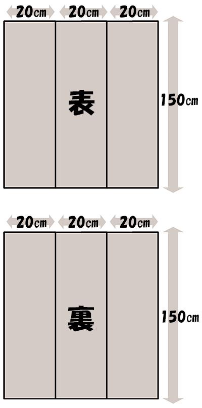 必要な生地面積・半幅帯(継ぐ場合3列)