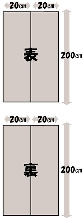 必要な生地面積・半幅帯2(2列)