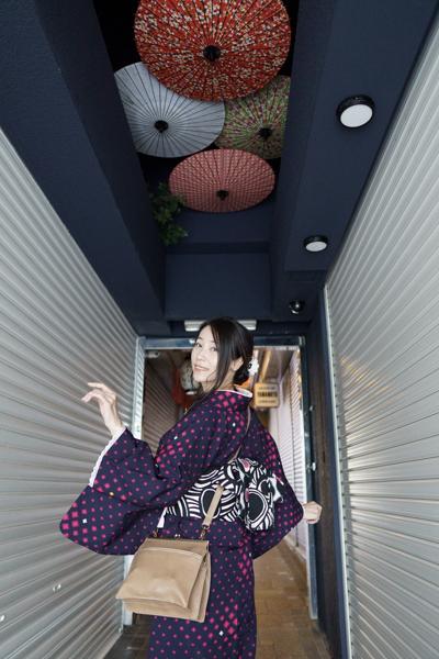浴衣帯、半幅帯の作り帯-小町の着用写真