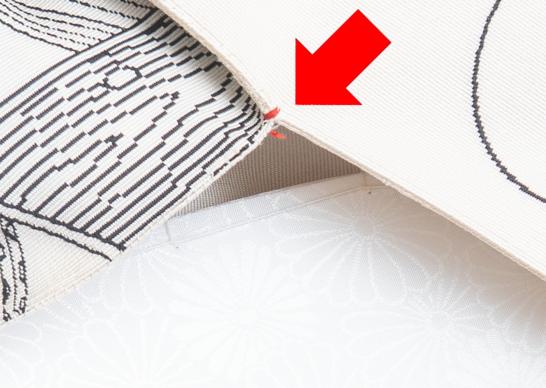 縫い止め部分の拡大写真